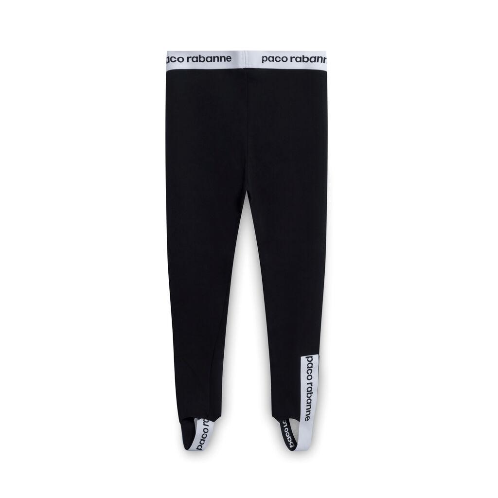 Paco Rabanne Contrast Logo-Stripe Stirrup Leggings - Black