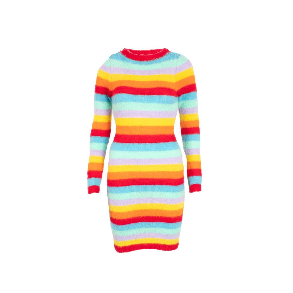 Rainbow Striped Fuzzy Knit Dress