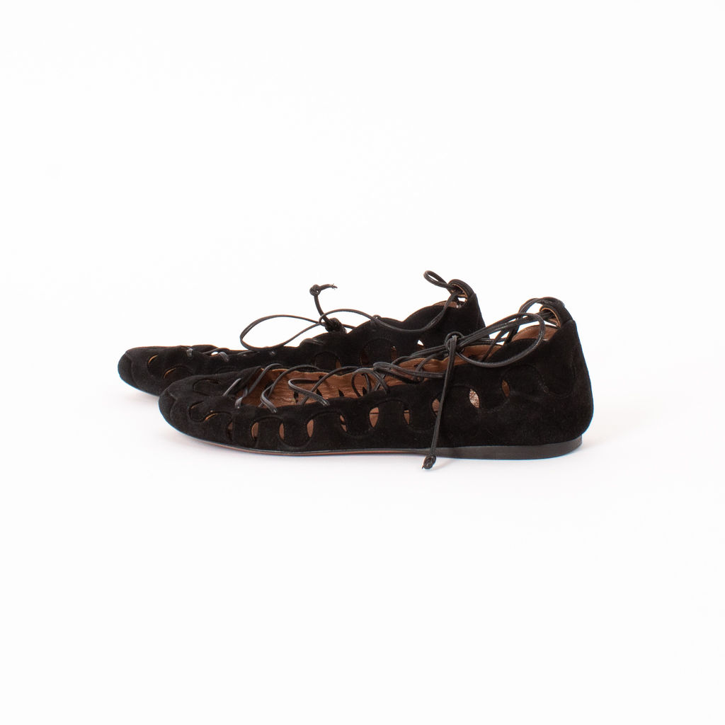 Alaia Suede Lace Up Flats