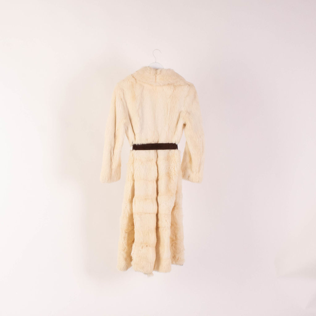 Vintage White Fur Trench Coat