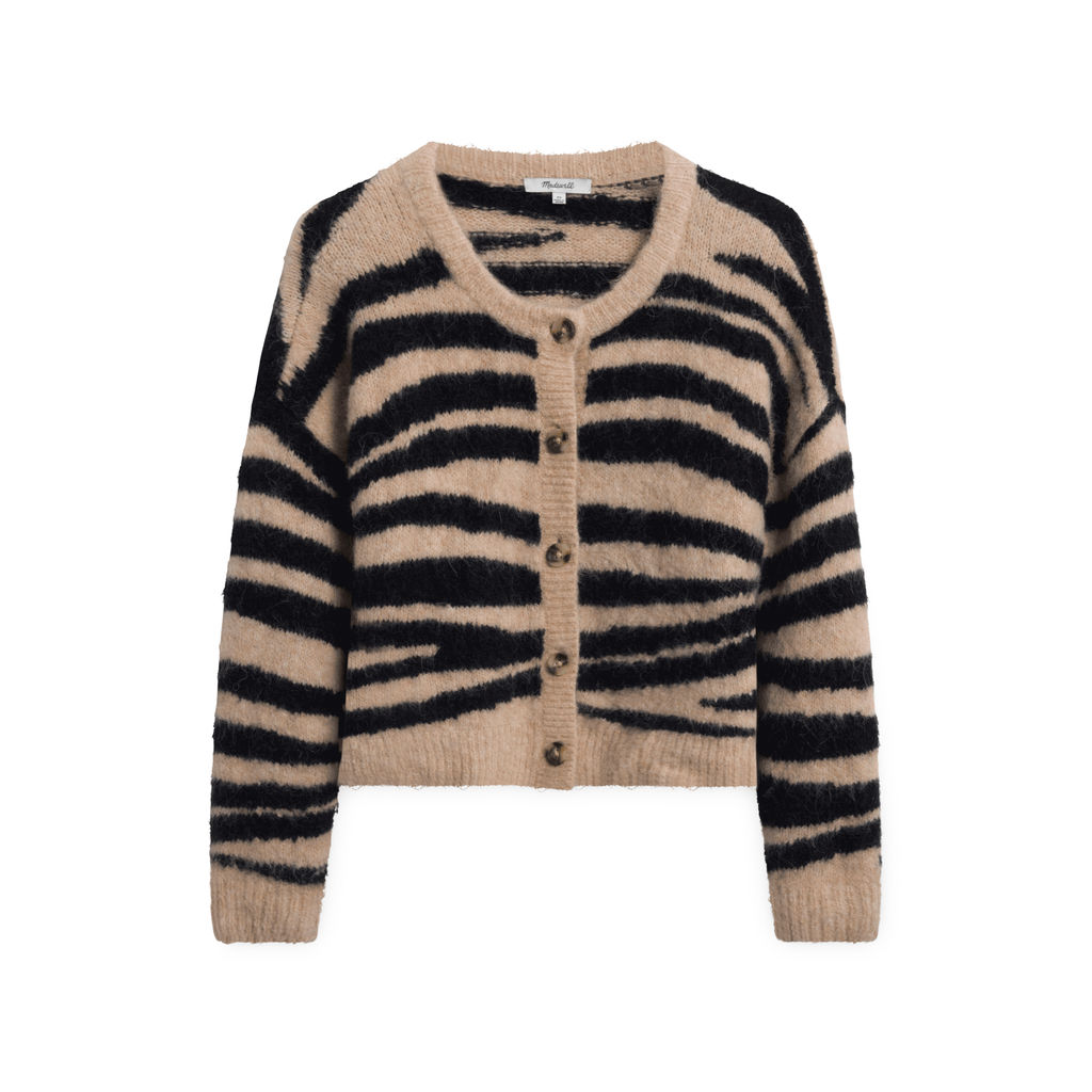 Madewell Striped Sweater with Buttons - Tan/Brown