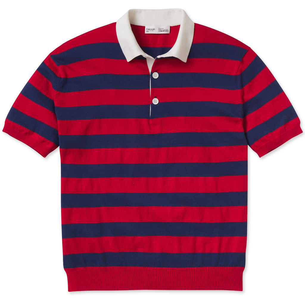 Entireworld Organic Cotton Short Sleeve Polo - Navy/Red