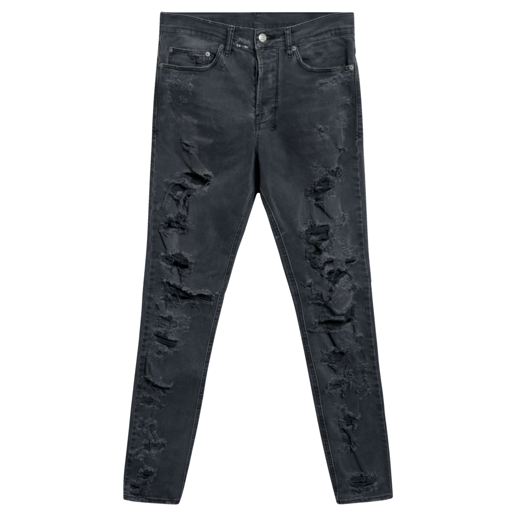 Ksubi Chitch Distressed Slim-Leg Jeans in Dark Age