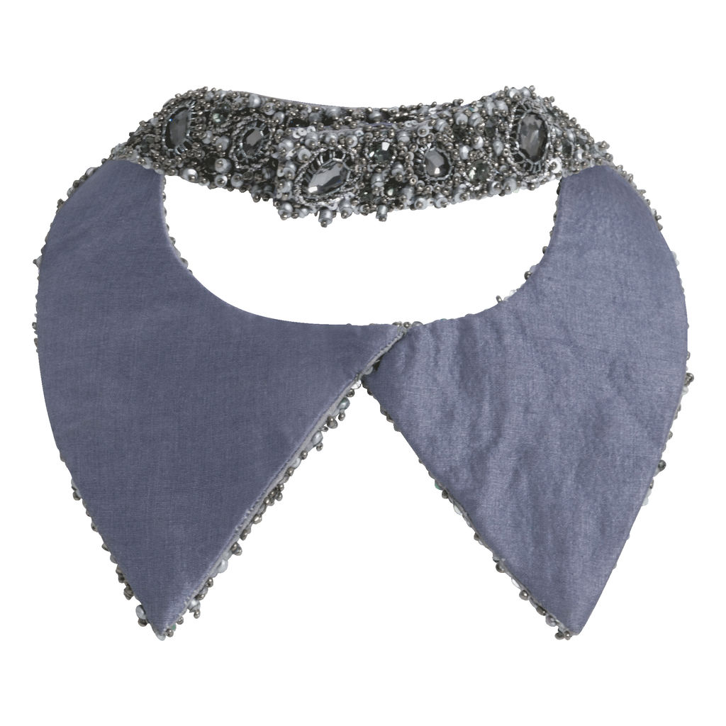 Azeeza Gunmetal Embellished Shirt Collar