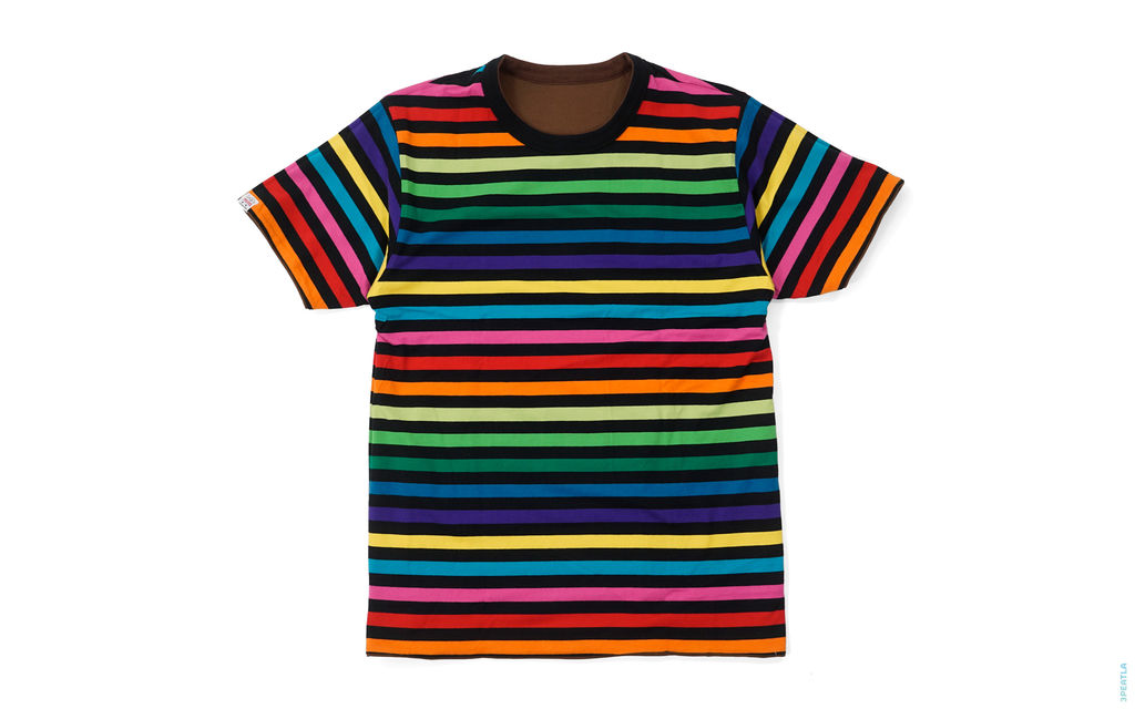 BAPE Border Rainbow Baby Milo Reversible Tee multi brown