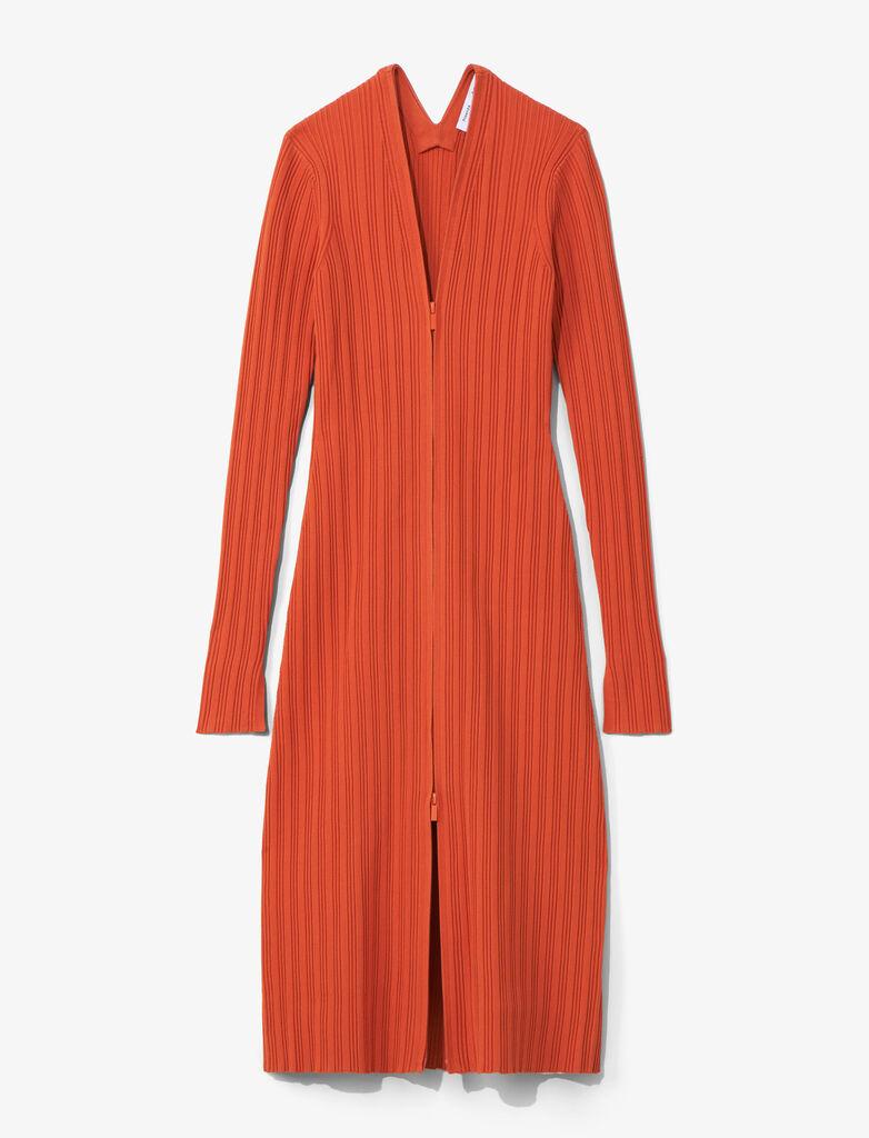 Rib Knit Zip Cardigan Dress