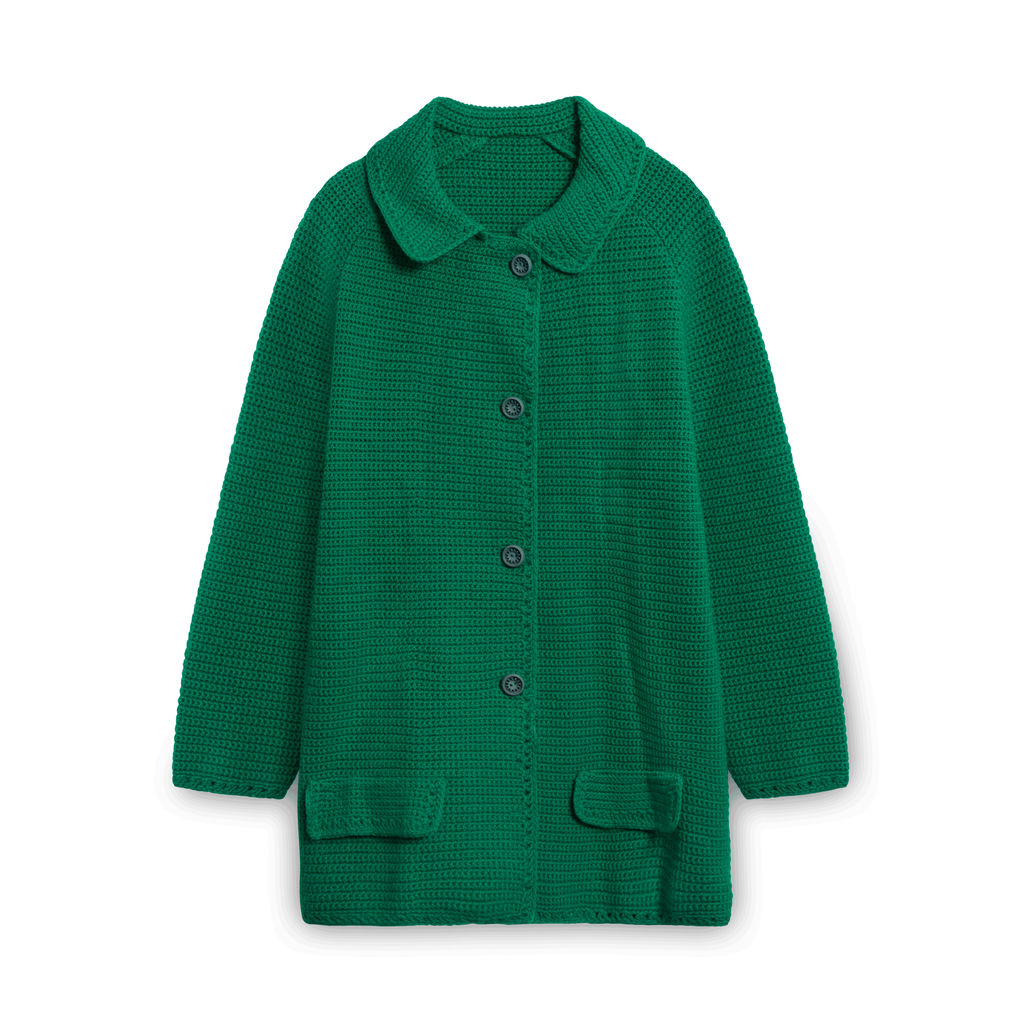 Vintage Knit Button-down Sweater - Green
