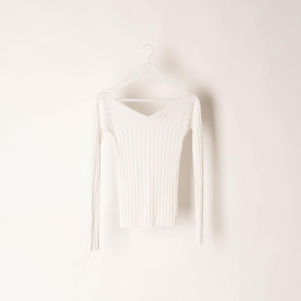 Theory Deep V-Neck Rib Knit Sweater