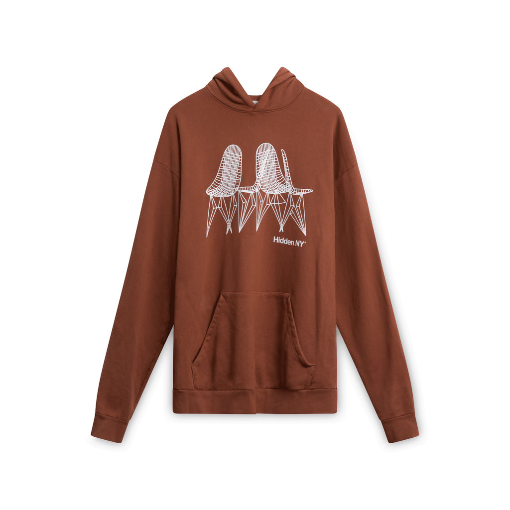 Hidden NY Charles and Ray Eames Wire Chair Hoodie - Brown