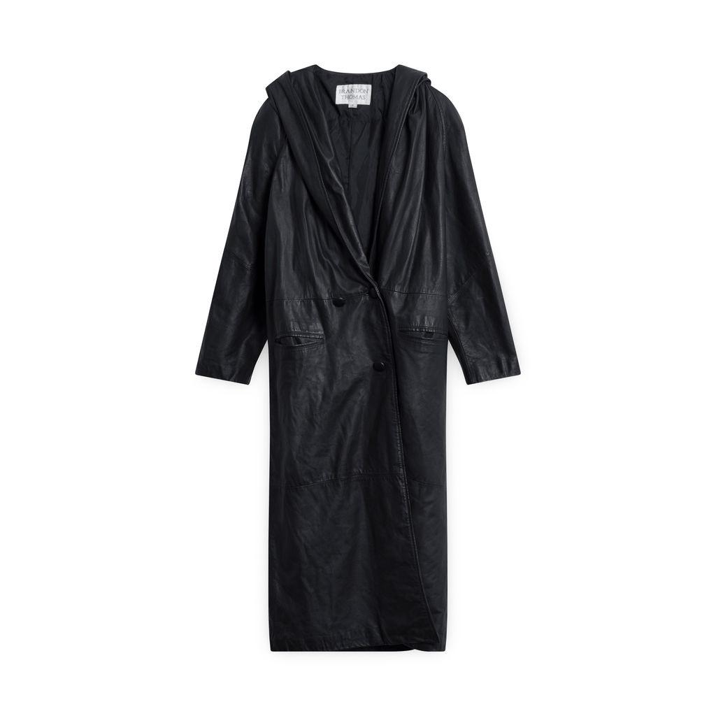 Brandon Thomas Hooded Leather Trench Coat