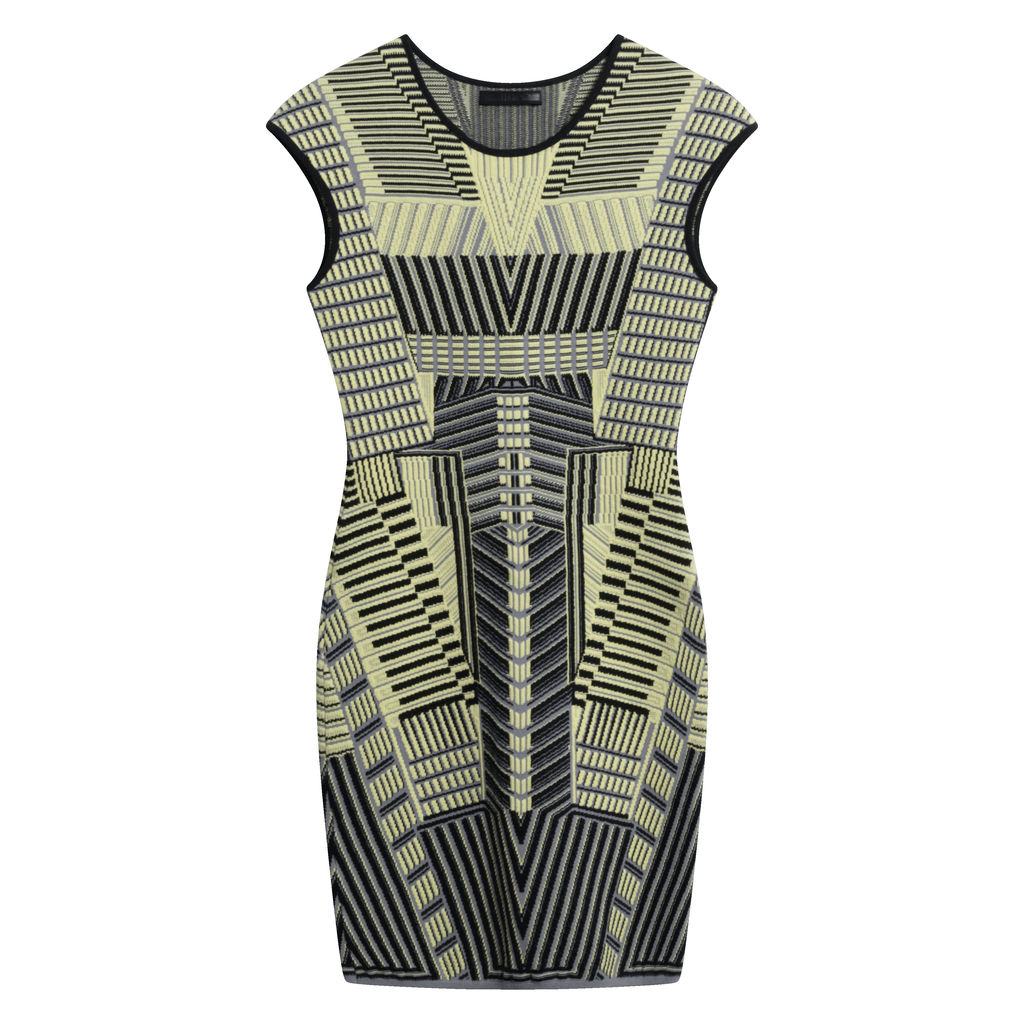 Rvn Yellow-Green Geometric Bodycon Dress