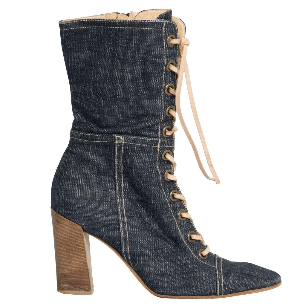 Miu Miu Denim Lace-Up Heeled Boots