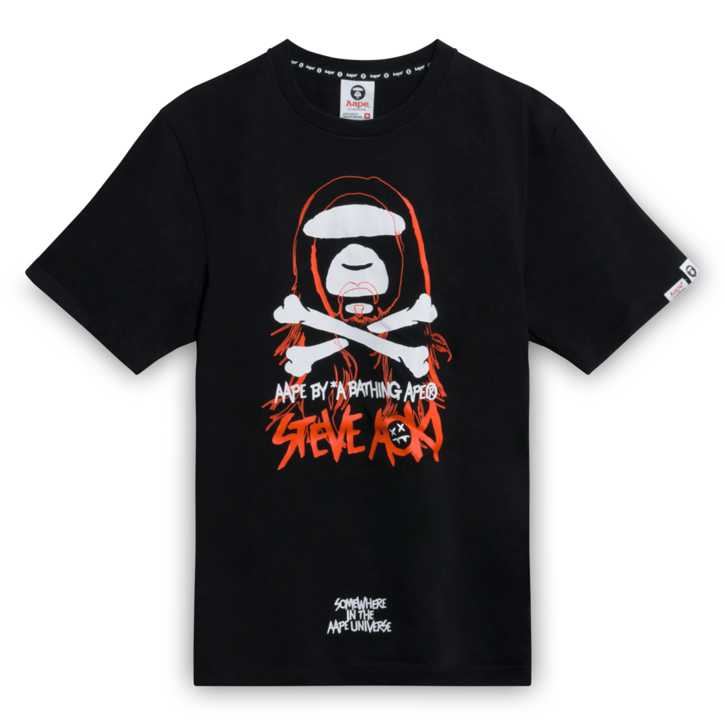 BAPE x Steve Aoki Ape Face Tee Shirt in Black