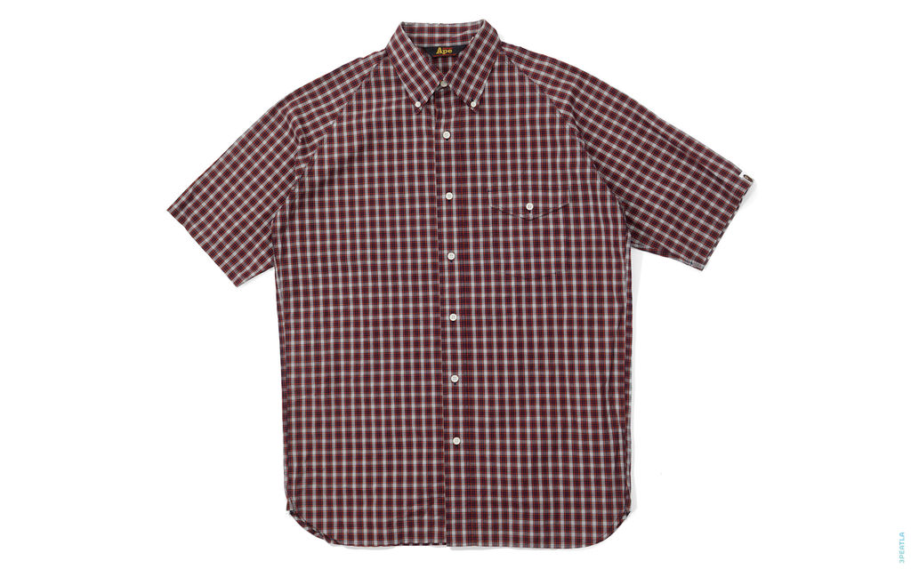 Plaid Short Sleeve Button-Up Shirt brown