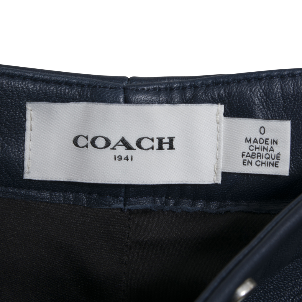 Coach Navy Cropped Leather Trousers