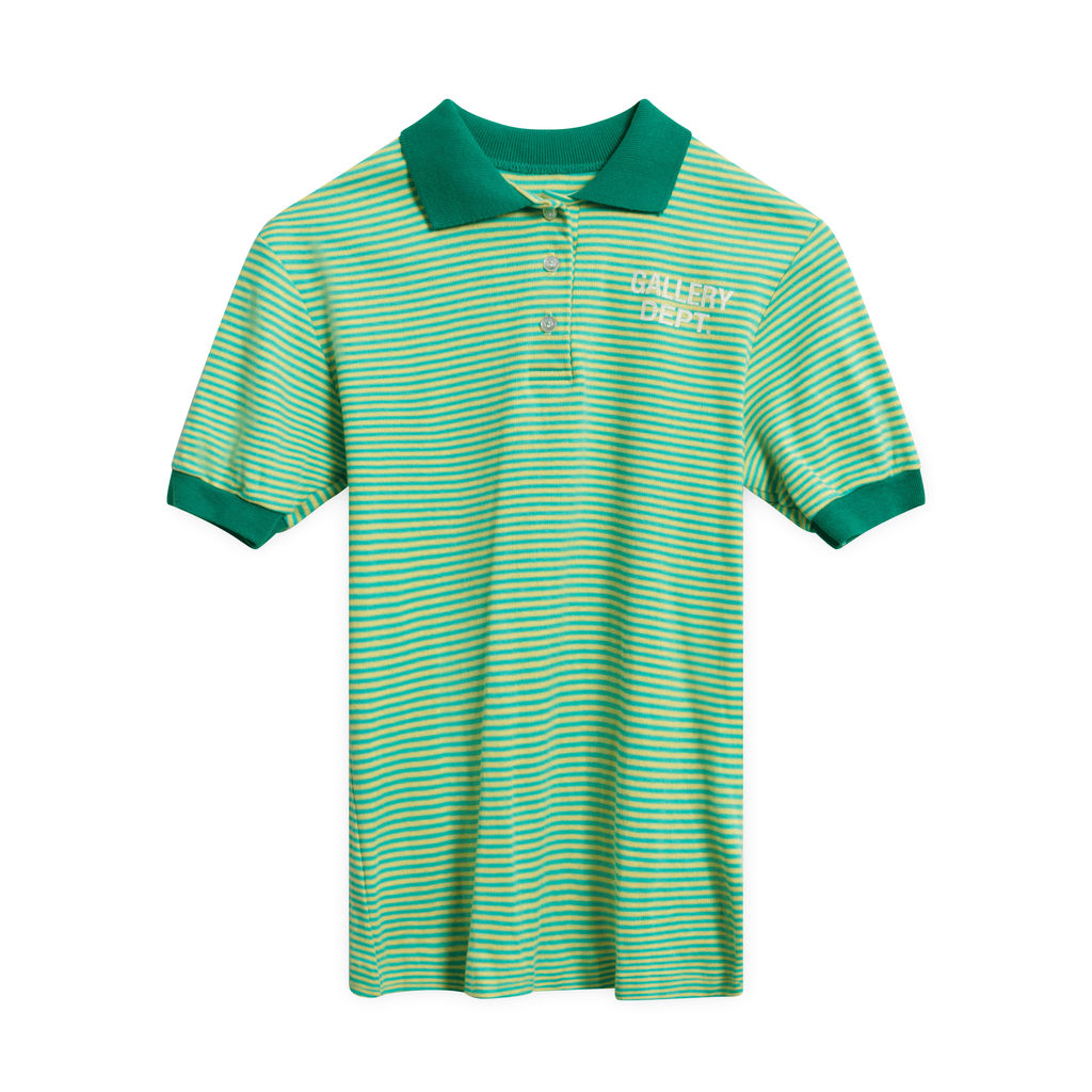Gallery Department Green and Yellow Striped Polo