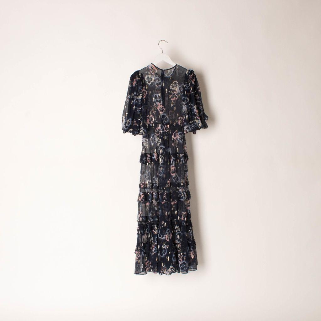 Rebecca Taylor Floral Print Crepe Midi Dress