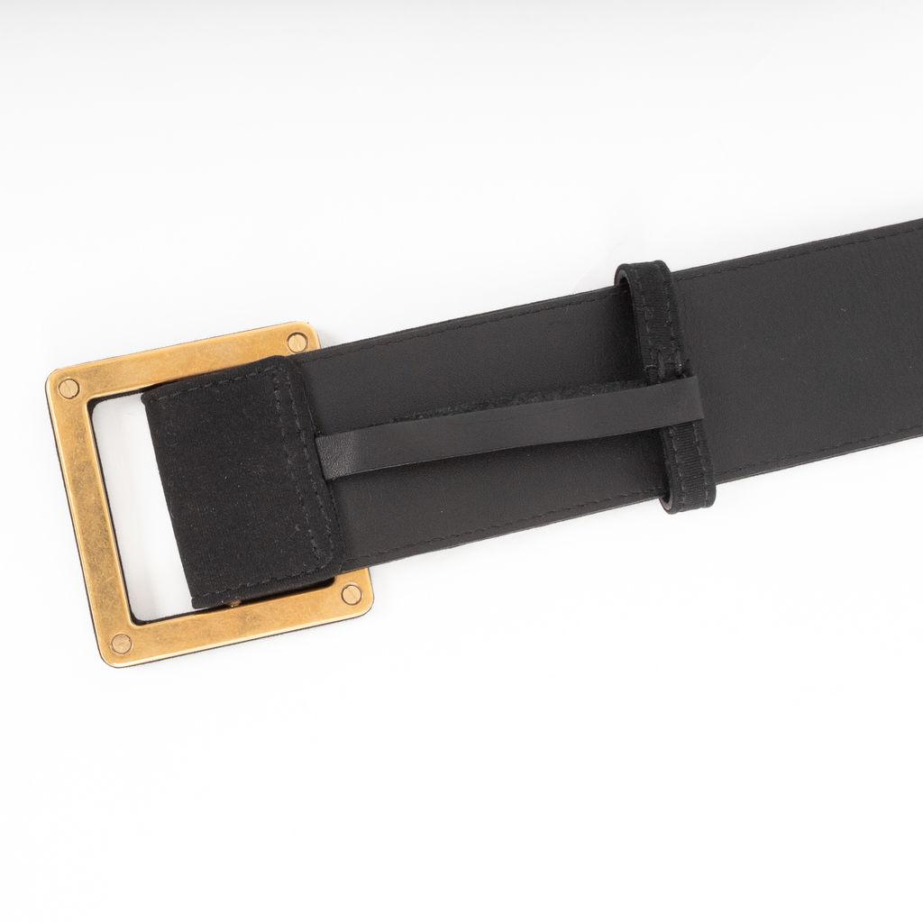 Yves Saint Laurent Knit Covered Square Buckle Belt