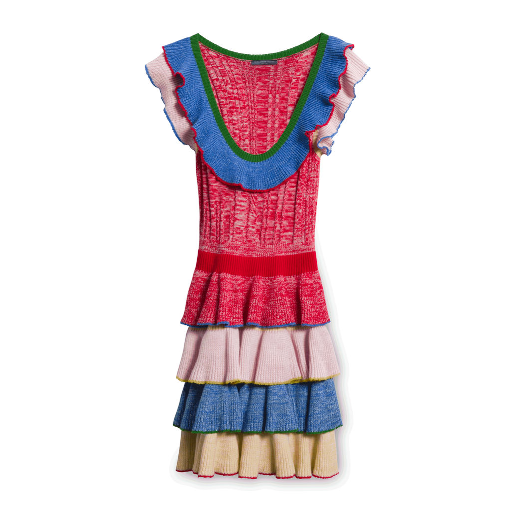 Alexander McQueen Pleated Rainbow Dress