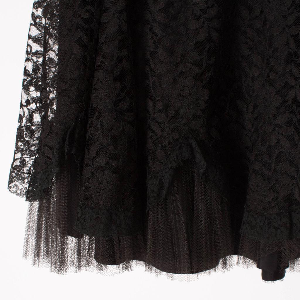 1950/ Vintage Dale Brown Lace Black Tutu Skirt
