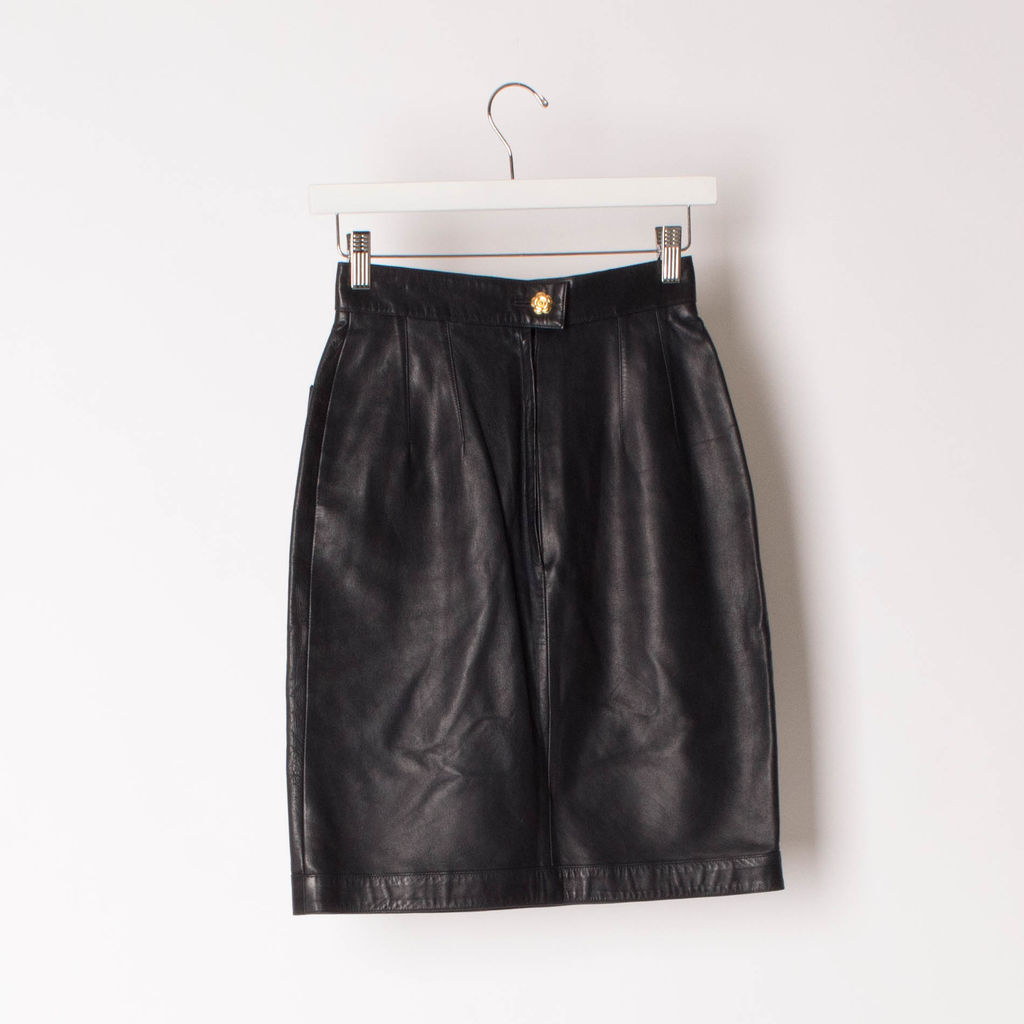 Vintage Chanel Boutique Leather Skirt
