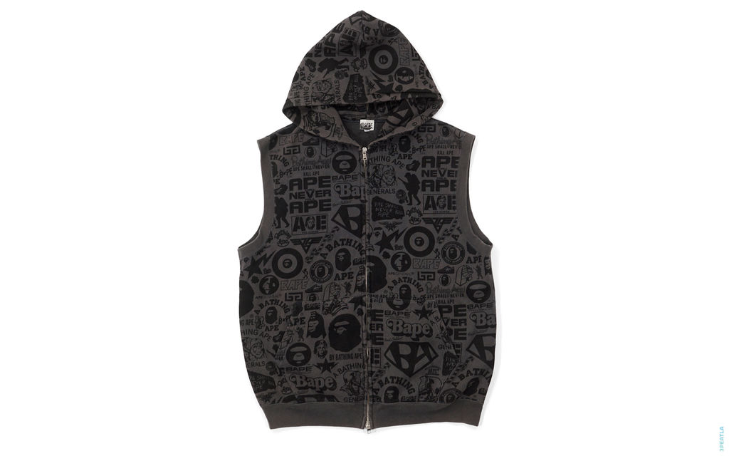 BAPE Logo Collage Sleeveless Hoodie black
