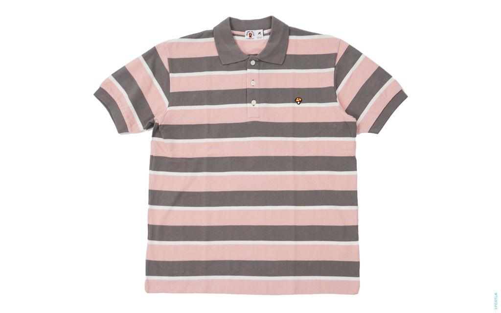 BAPE Mushroom Border Pique Polo Shirt pink grey