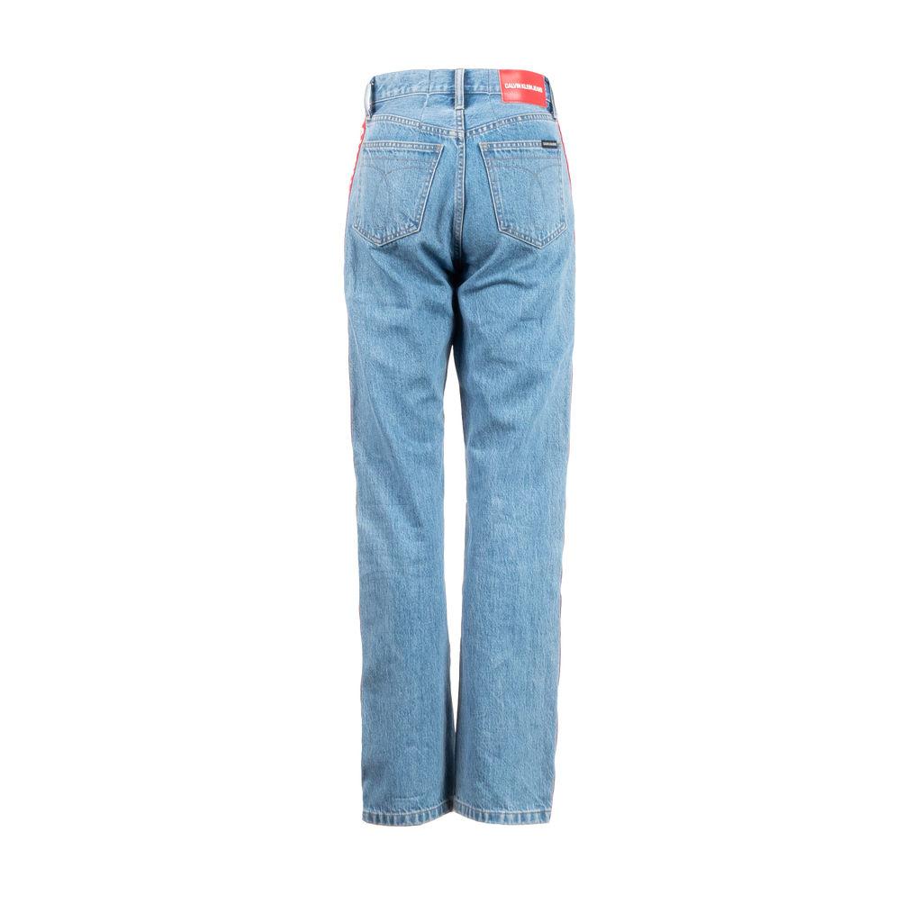 Calvin Klein Jeans Logo Stripe Straight Leg Jeans