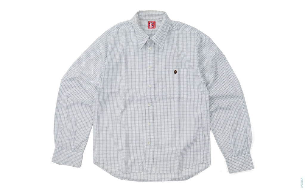 Grid Line Button-Up Shirt white