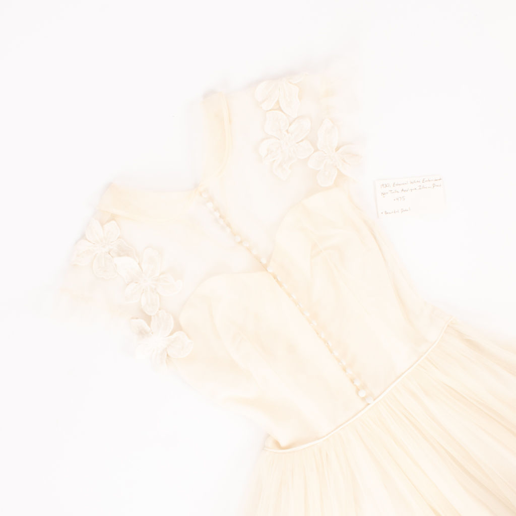 1930's Ethereal White Net-Tulle Applique Illusion Dress