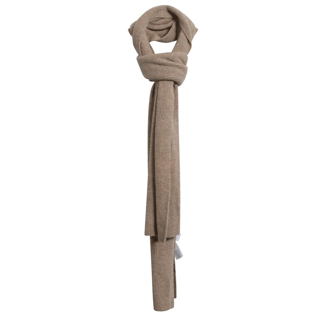 Ganni Ribbed Wool-Blend Scarf in Beige