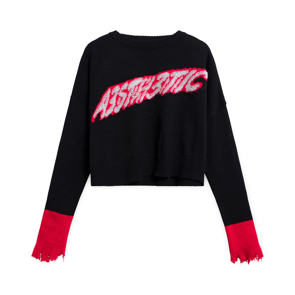 Vintage Diesel Knit Sweater with Text - Black