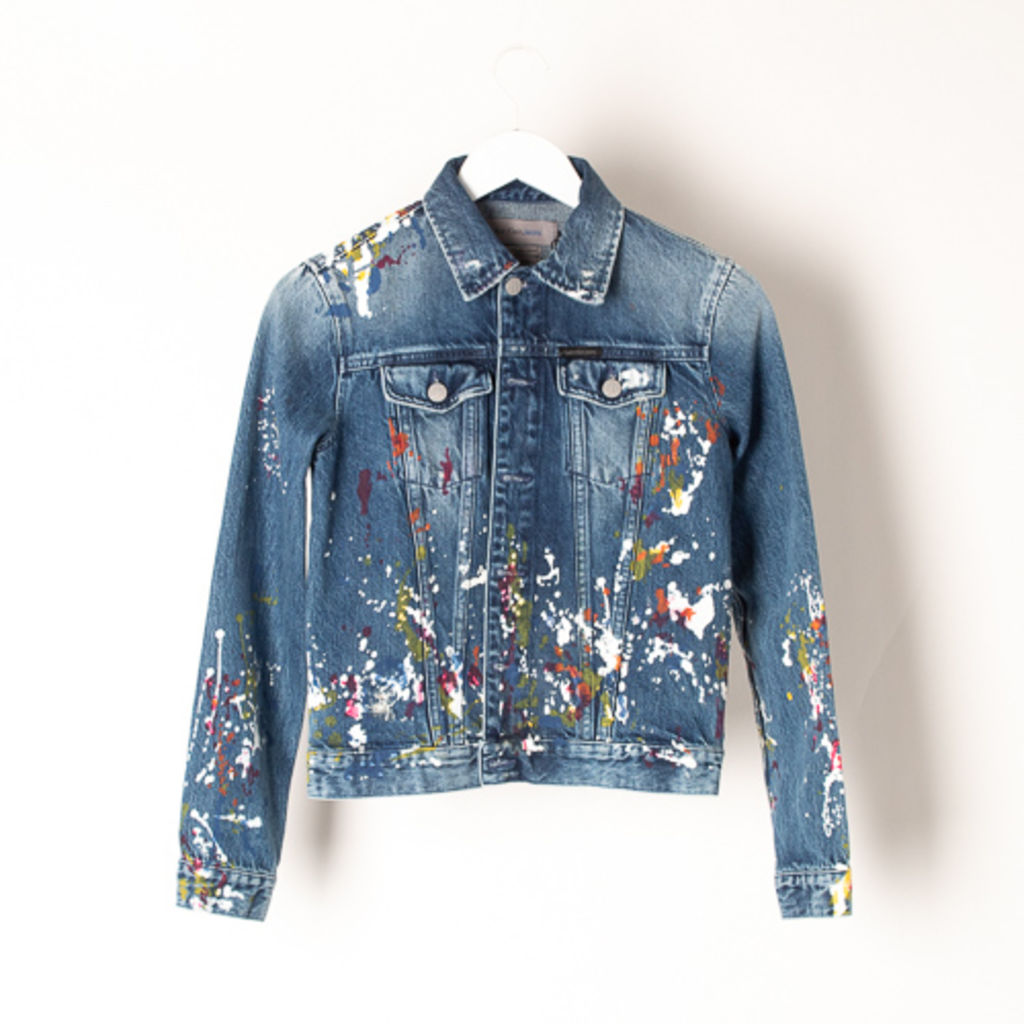 Calvin Klein Paint Splatter Denim Trucker Jacket curated by Sami Miro