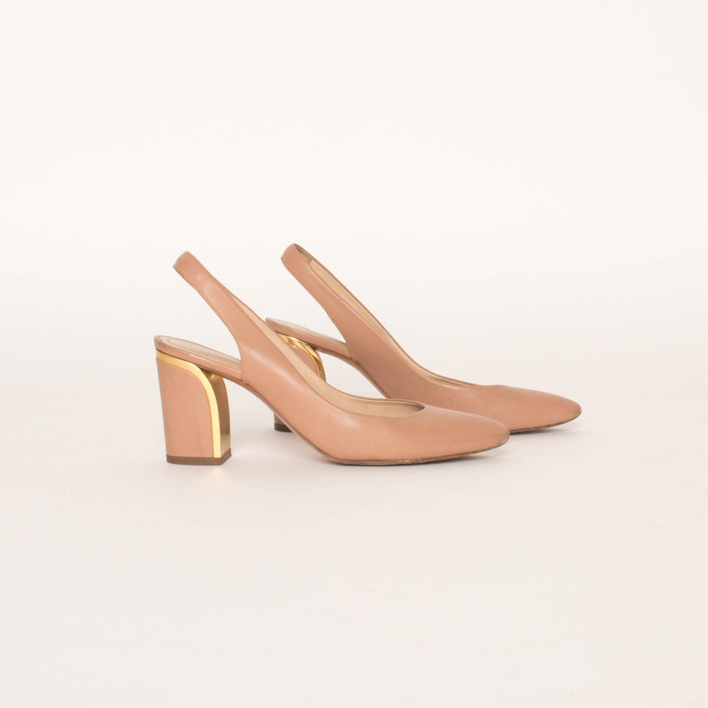 Chloe Leather Mid Heel Slingback Shoes