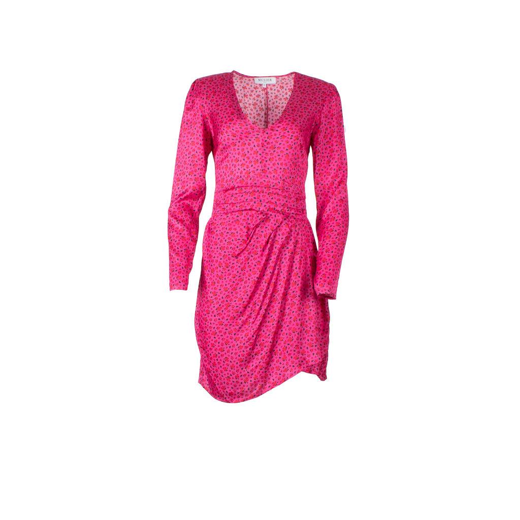 Musier Paris Gabi Padded Shoulder Midi Dress in Pink Clover