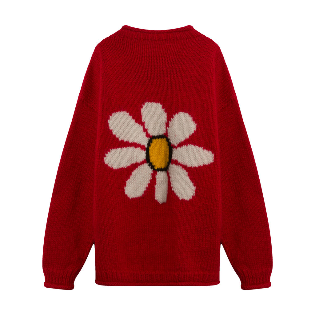 Vintage Chunky Knit Flower Power Sweater