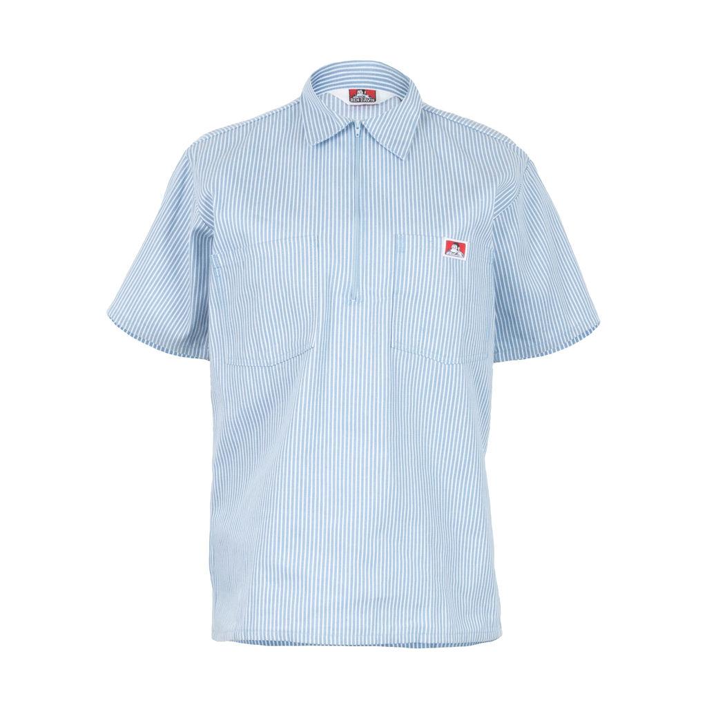Ben Davis Short Sleeve 1/2 Zip Shirt in Blue Stripe