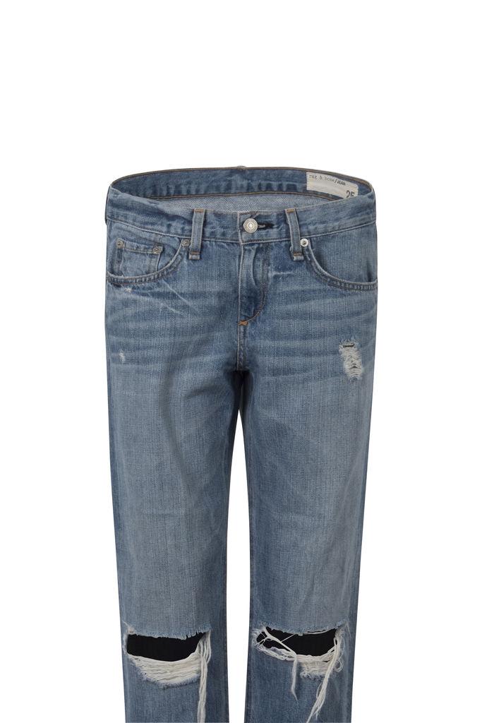 Rag & Bone Boyfriend Moss Ripped-Knee Jeans