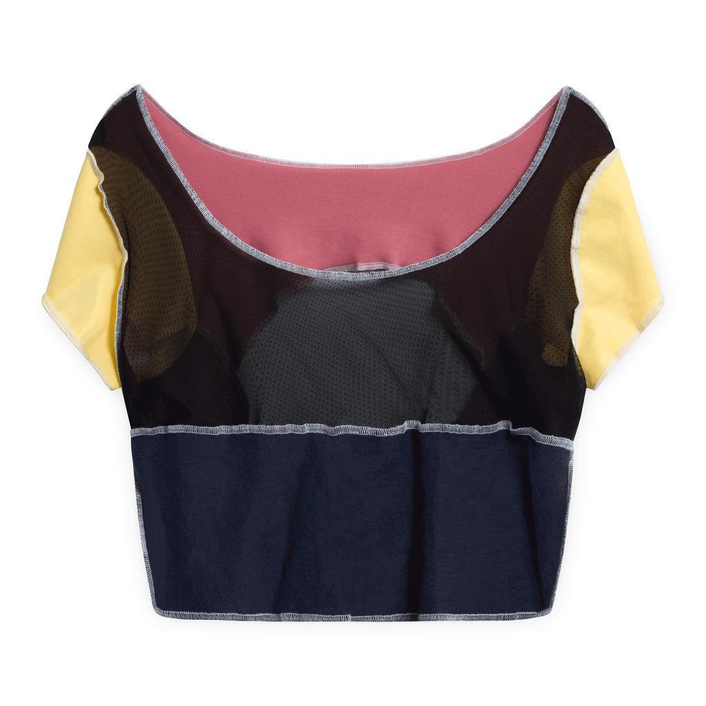 JJVintage Reworked Champion Short Sleeve Crop top - Pink/Navy
