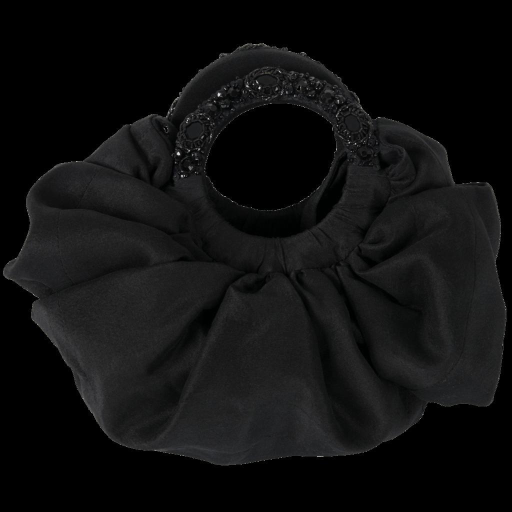 Azeeza Circle Raw Silk Black Embellished Bag