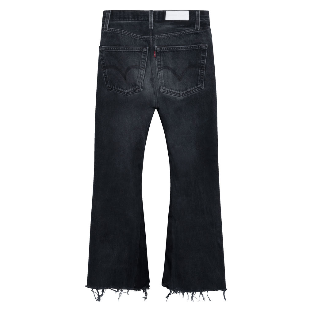 Re/Done High Rise Crop Flare Jeans in Grey
