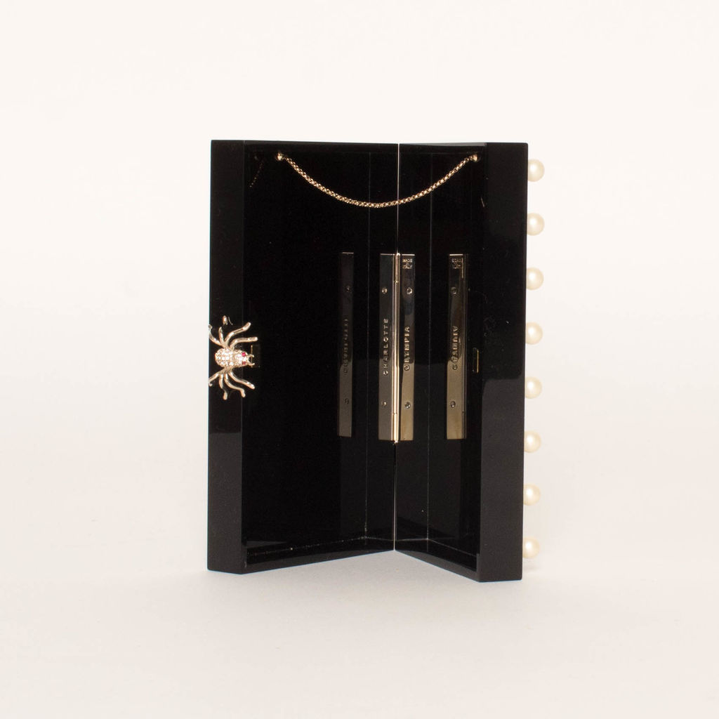 CHARLOTTE OLYMPIA Pandora Vanity Mirror Black Plastic Clutch
