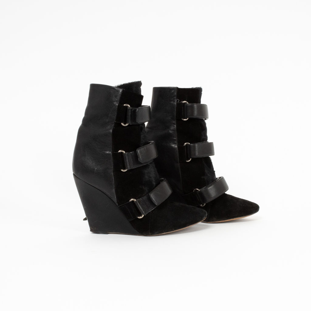 Isabel Marant Scarlet Multi-Material Wedge Boots