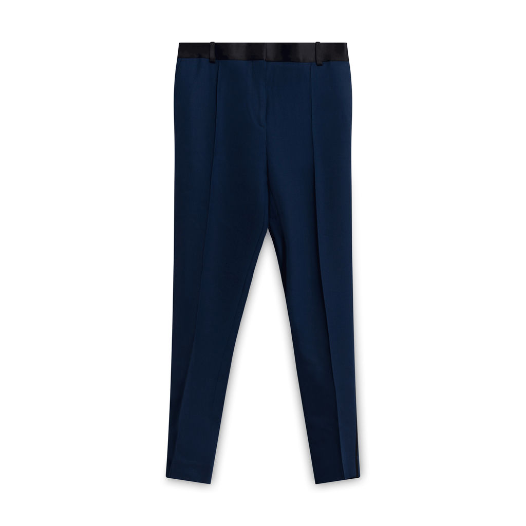 Celine Navy Tuxedo Trousers with Satin Stripe Leg