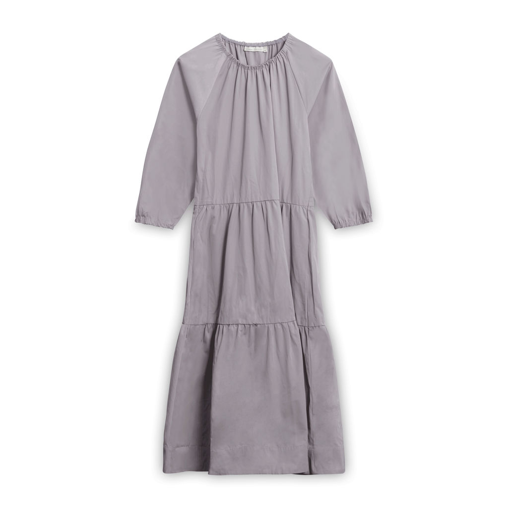 Vintage InWear Smock Dress with Elastic Neckline - Grey