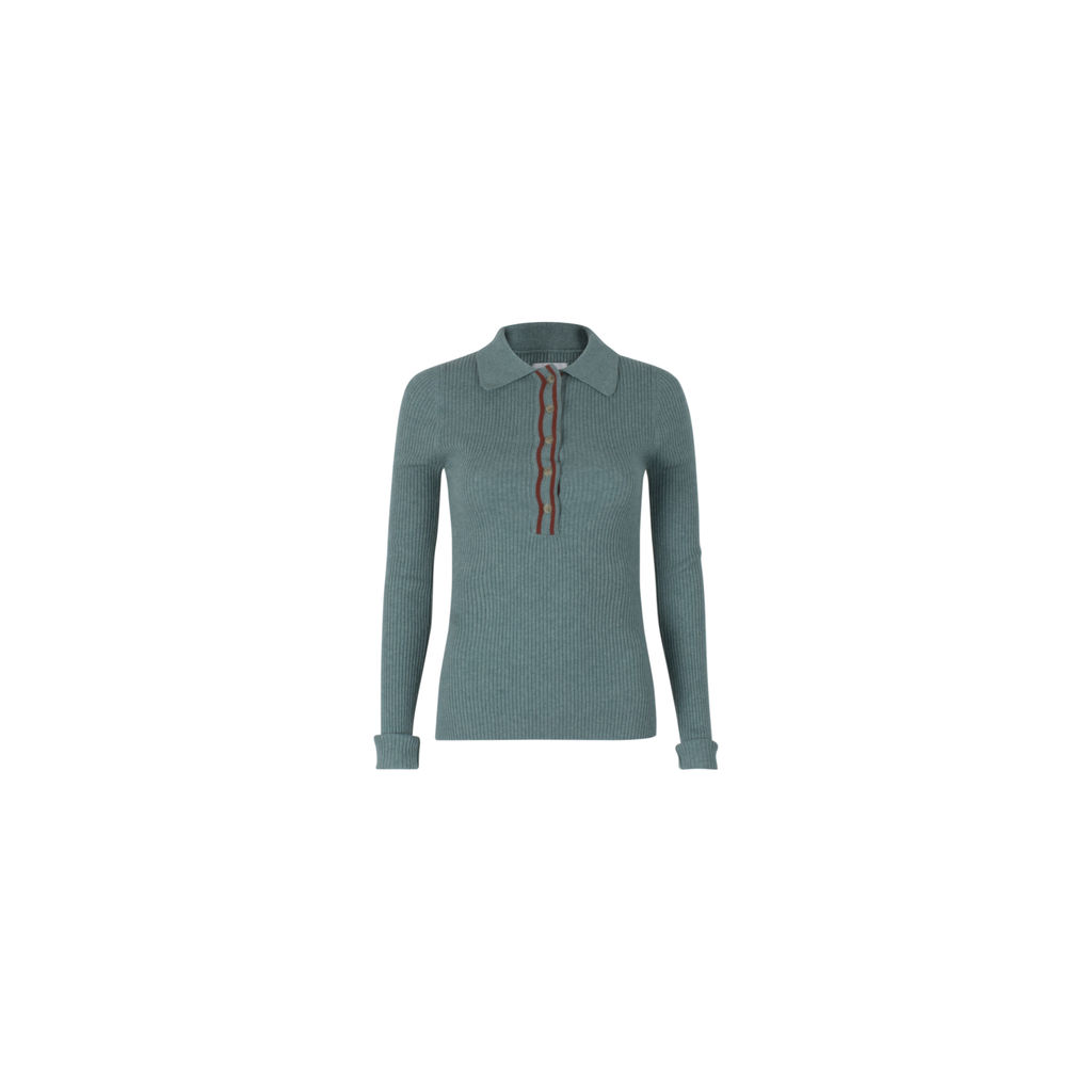 INEXCLSV Teal Viscose Wool Blend Polo Neck Sweater - Sienna