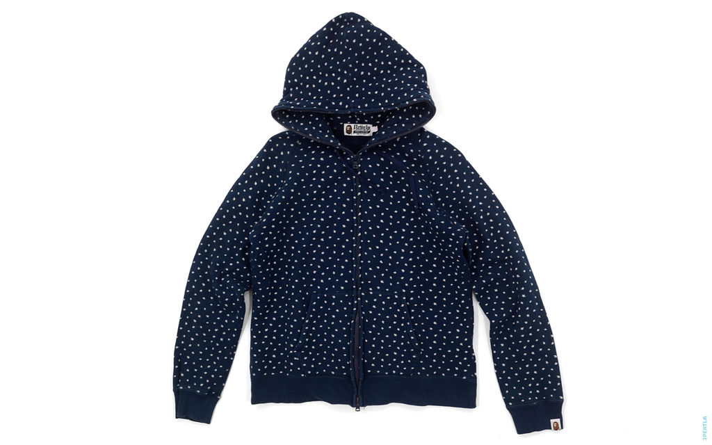 BAPE Mini Sta All Over Full Zip Hoodie navy