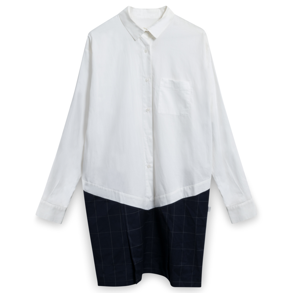 Jacquemus Button-Down Tunic in White/Navy Square
