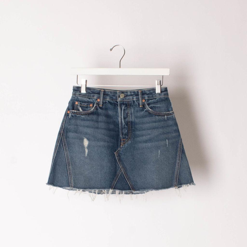 GRLFRND Eva Reconstructed Denim Skirt curated by Sami Miro
