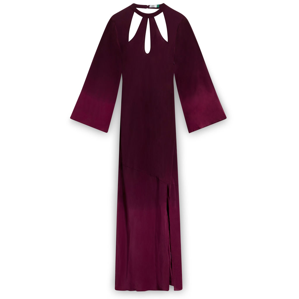 Rixo Kaia Plum Silk Long Sleeve Dress